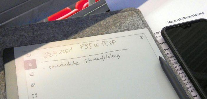 F95 vs St. Pauli: Arbeitsplatz des Ergebenen mit brandneuem Hilfsapparat (Foto: TD)