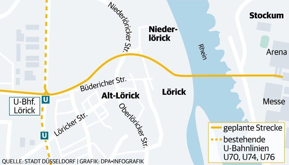 Eine der ersten Visualisierungen des Streckenverlaufs der U81 (Quelle: Stadt Düsseldorf)