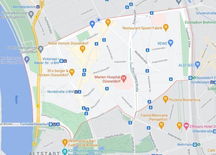 Google-Maps: Der Stadtteil Pempelfort zwischen Bahnschneise, Rhein und Innenstadt
