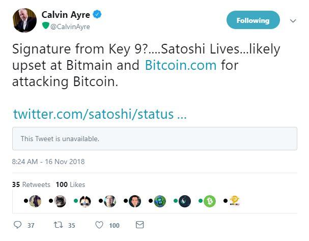 calvin ayre bitcoin cash satoshi