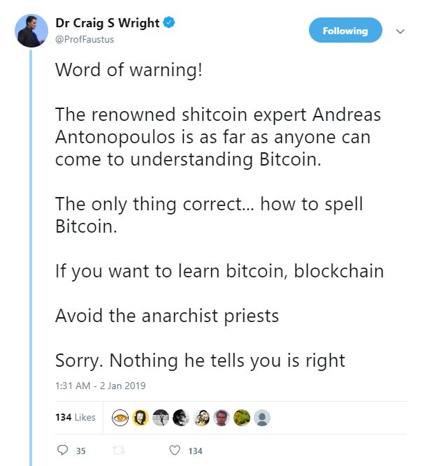 craig wright andreas antonopoulos twitter bitcoin