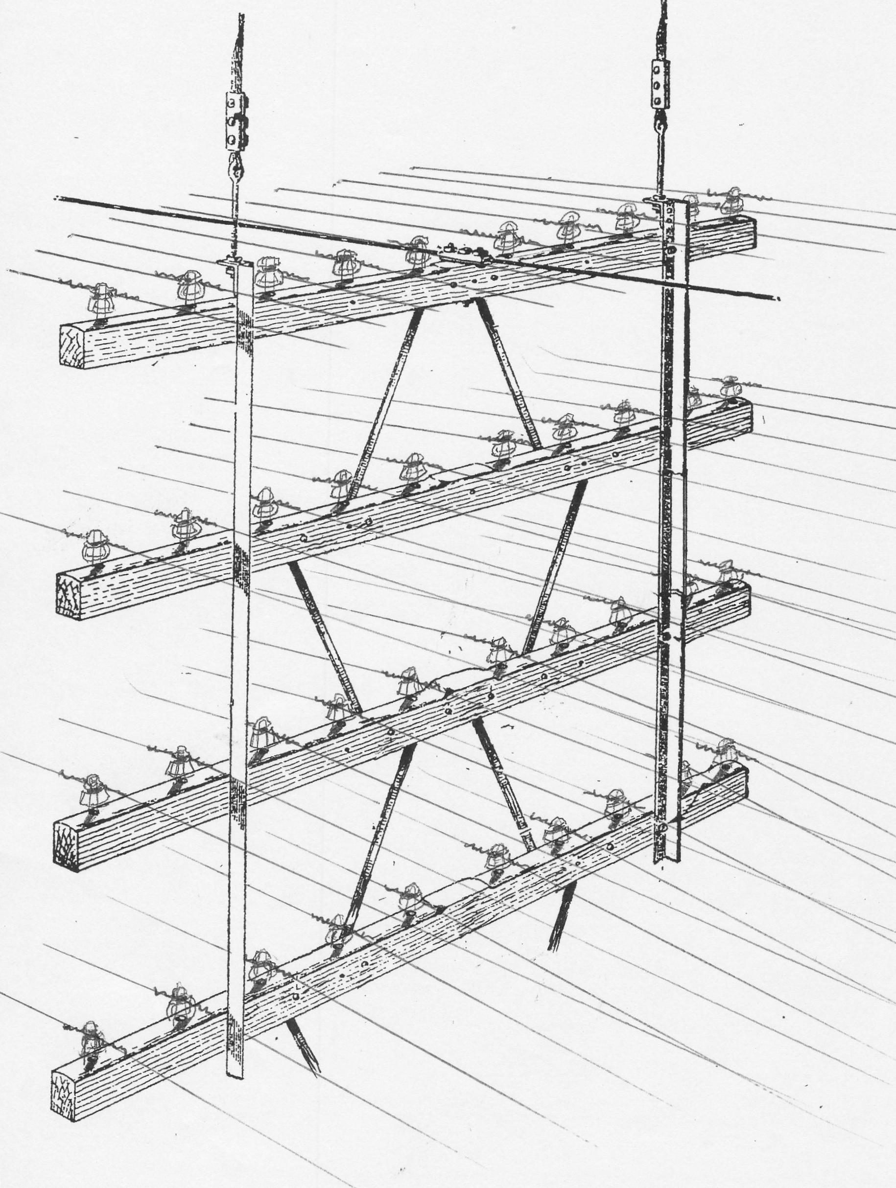 medium resolution of  catenary open wire crossarm assy