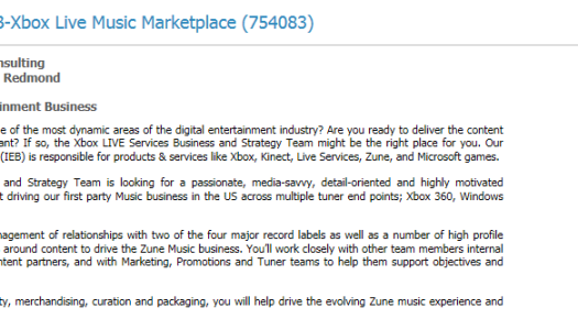 "Microsoft Hiring Business Manager for ""Xbox Live Music Marketplace"""