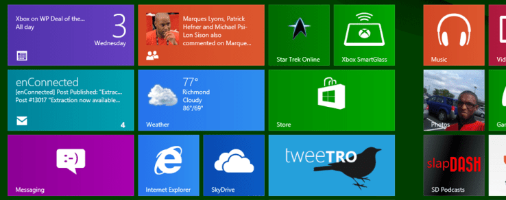 Featured Apps on the Windows 8 Start Screen