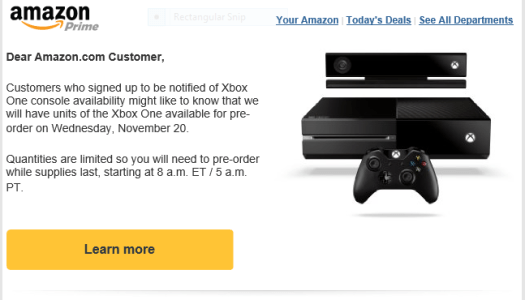 Amazon Holding Xbox One pre-order fire sale at 8 a.m.