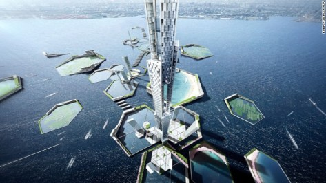 Hexagonal rings disrupt strong waves and double as freshwater reservoirs, public beach harbors and urban farming plots