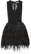 Alice + Olivia - Kiara Crepe And Feather-embellished Organza Mini Dress - Black