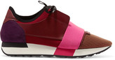Balenciaga - Race Runner Leather, Mesh, Suede And Neoprene Sneakers - Burgundy