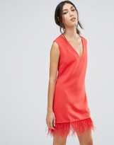 Shift Dress With Faux Leather Hem