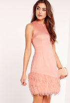 Feather Trim Bodycon Dress Pink