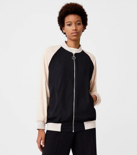 Mango Two-Colourd Embroidery Bomber Jacket