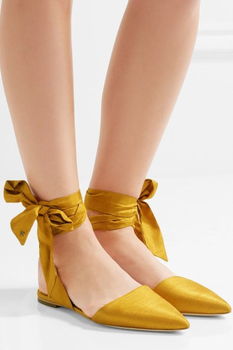 """I haven't shopped for a new pair of flats in awhile and think it's time to add a color other than black or beige to my collection. Sam Edelman's satin point-toe flats ($90) look luxurious, and I like the tie-up details on the ankles."" — ML"