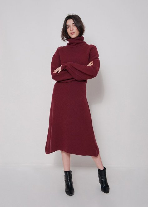 """You can get away with wearing a dress in the dead of Winter if it looks like this turtleneck version ($175). I already have a black ribbed knit dress, so the burgundy would be a nice addition to my wardrobe. Plus, check out the puffy sleeves."" — Marina Liao, assistant editor, Fashion"