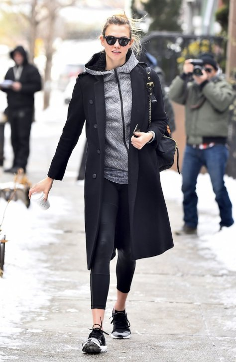 For a little Winter athleisure inspo, take a look at Karlie Kloss's zip-up hoodie and sneakers look.