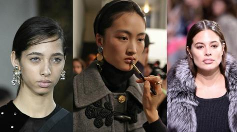 """""""No makeup makeup"""" seen on a model in the Jason Wu show (left photo by Peter White/WireImage); a model in the Altuzarra show (center photo by Victor VIRGILE/Gamma-Rapho via Getty Images), and supermodel Ashley Graham in the Michael Kors show (right photo by Peter White/WireImage)"""