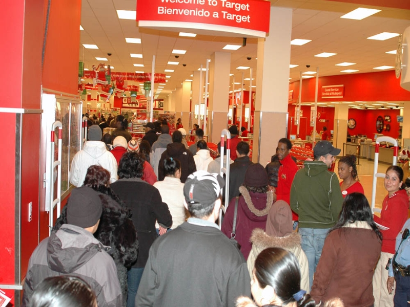 People standing in line at Target for Black Friday deals.