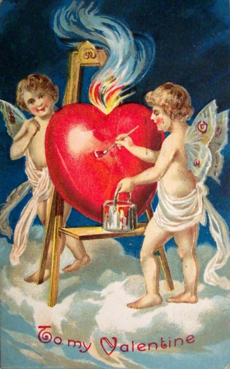 2 angels coloring a valentine's day heart