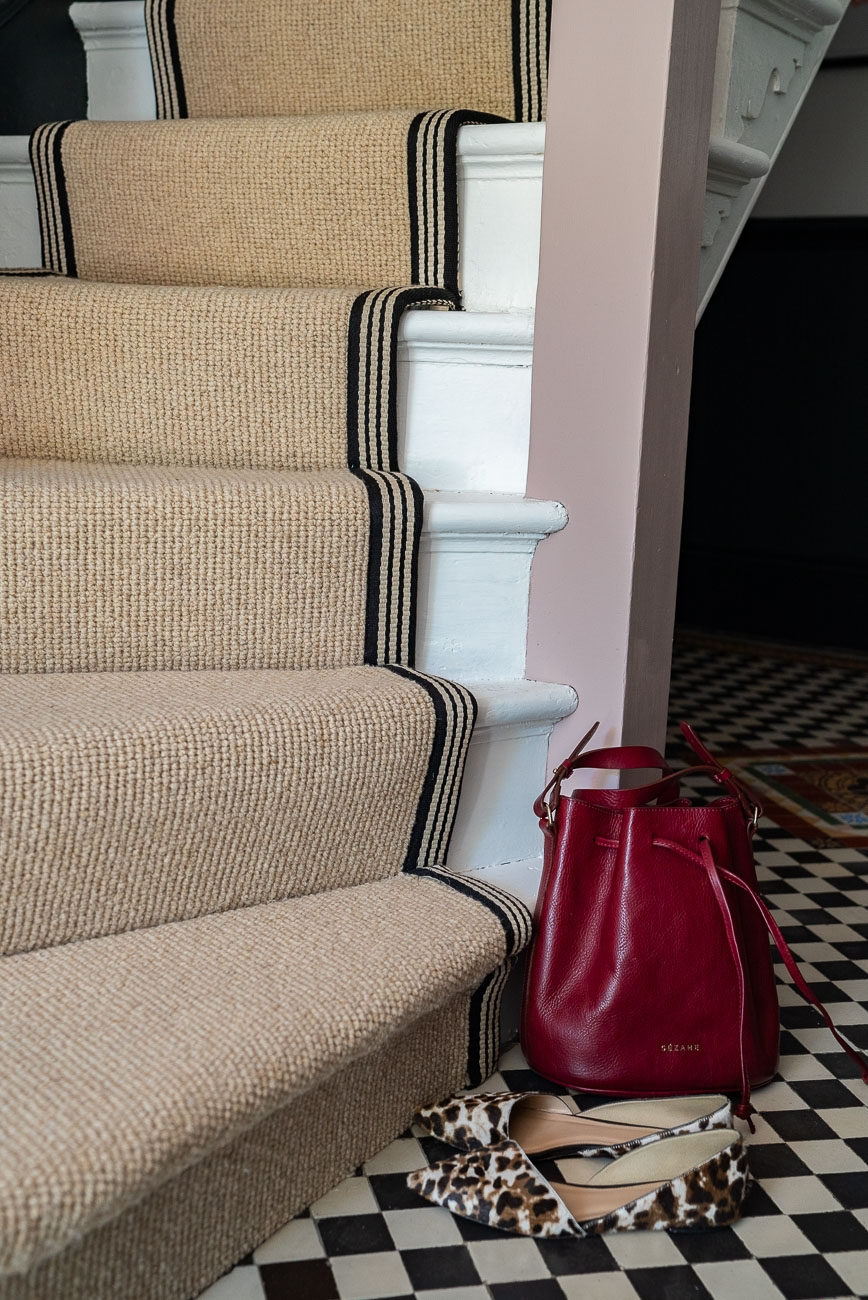 How To Achieve Your Perfect Stair Runner The Frugality   Different Carpet On Stairs To Landing   Des Kelly   Striped Carpet   Wood   Grey Carpet   Flooring