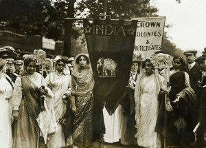 Photograph of Indian suffragettes on the Women's Coronation Proc