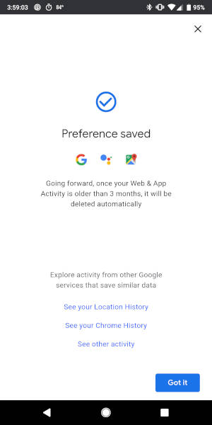 How to automatically delete Google's Web & App Activity