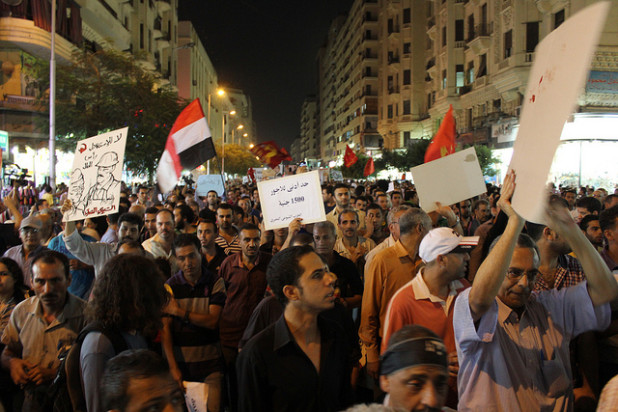 Anti-Morsi Protest in Downtown Cairo in August, 2012.