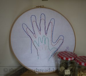 embroidered hand print
