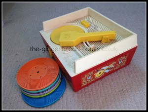toy record player with records