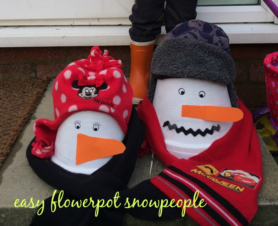 easy handmade flower pot snowpeople