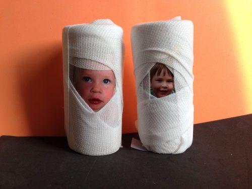 Cardboard tube mummies - the gingerbread house