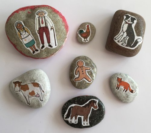 gingerbread man story stones - the gingerbread house