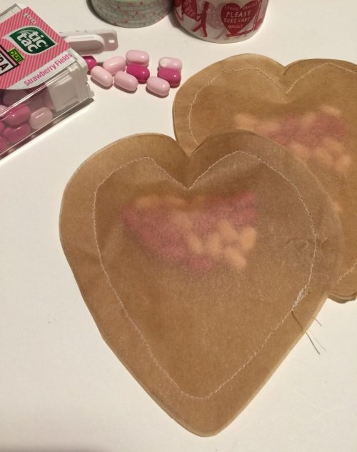 brown paper stitched hearts