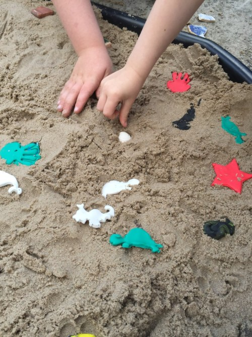 Beach themed sensory activity