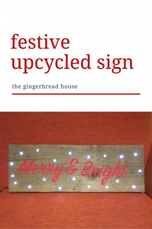 festive upcycled sign