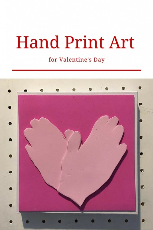 Hand print art for Valentine's Day