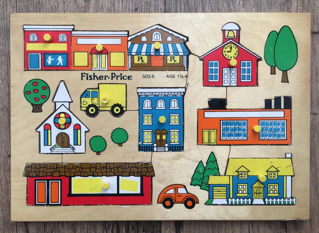 vintage fisher price buildings jigsaw