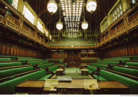 The House of Commons Chamber. Image from UK Parliament, via twitter; license: CC BY-NC-ND 2.0
