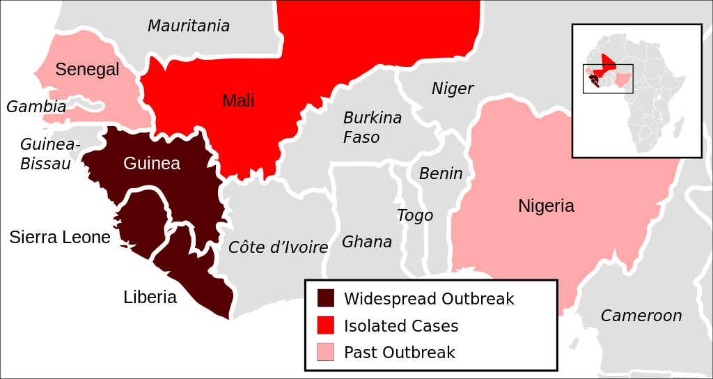 The outbreak of Ebola and the countries fighting the virus. Via wikimedia commons (CC0 1.0)