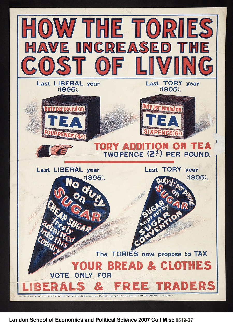 Controversy over sugar taxes is nothing new: this political print was produced by the Liberal Party (c1905-c1910) to criticise the price increase of tea and sugar under the Tory government in 1905 compared to the 1895 Liberal government. Image credit: London School of Economics Political Science Collection 2007 via Flickr (License).