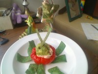 Red Pepper Stuffed with Crab Salad and Guacamole