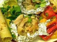 Barbecued Mexican Shrimp Stuffed Red Snapper Packets