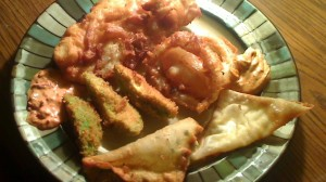Rice Flour Beer Batter Fried Fish, Onion Rings, Avocado Fries and Stuffed Wontons