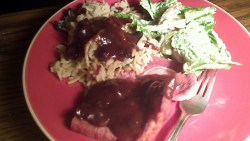 Ham Steaks with Russian Red Eye Gravy and Cranberry Almond Pilaf
