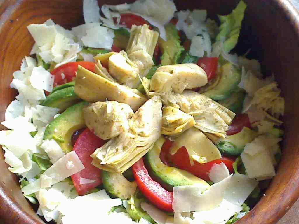Artichoke, Avocado and Shaved Parmesan Composed Salad