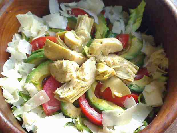 Artichoke, Avocado and Shaved Parmesan Composed Salad