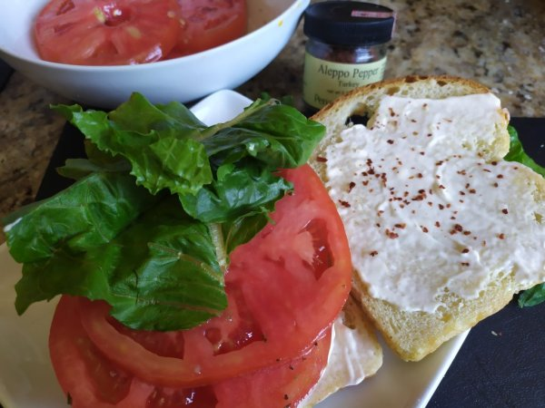 Open faced tomato salad sandwich