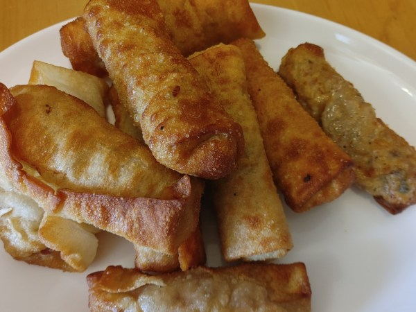 Air-Fried Egg Rolls with Steak, Rice and Cabbage