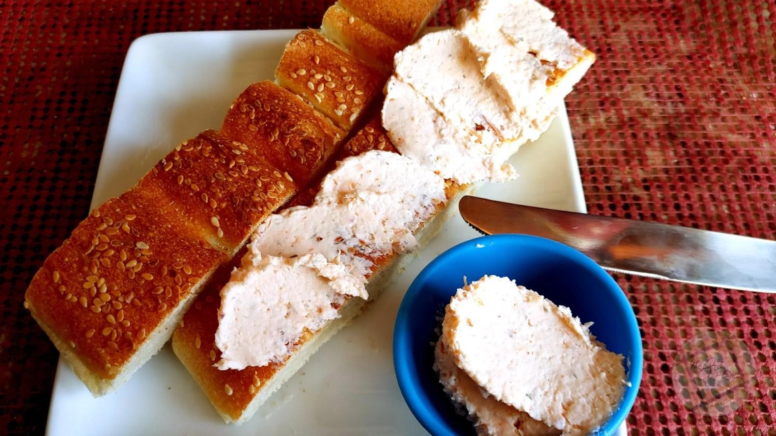 Smoked Salmon Cream Cheese on Barbari Brea