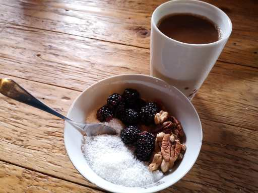 chia bowl and cacao drink