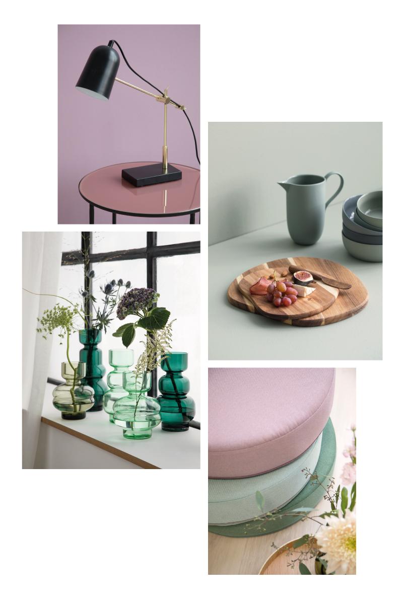 Sélection déco rose & vert Sostrene Grene