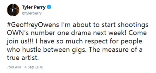 Tyler Perry tweet to Geoffrey Owens September 2018